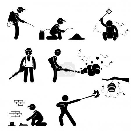 Exterminator Pest Control Stick Figure Pictogram Icon