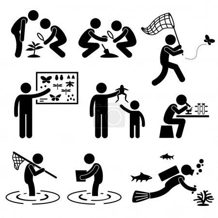 Man Outdoor Activity Geologist Research Specimen Stick Figure Pictogram Icon