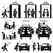 This is a set of pictograms that represent a busin...