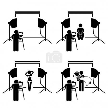 Photographer Studio Photography Shoot Stick Figure Pictogram Icon