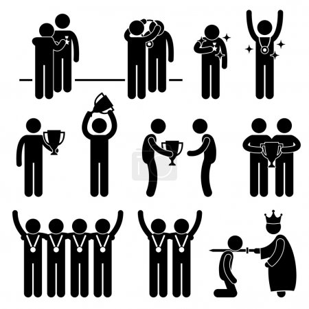 Man Receiving Award Trophy Medal Reward Prize Knighted Honour Honor Ceremony Event Stick Figure Pictogram Icon