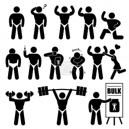 Body Builder Bodybuilder Muscle Man Workout Fitness Steroid Stick Figure Pictogram Icon