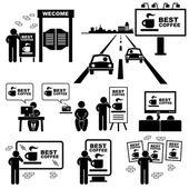 Advertisement Board Billboard Marketing Frame Stick Figure Pictogram Icon