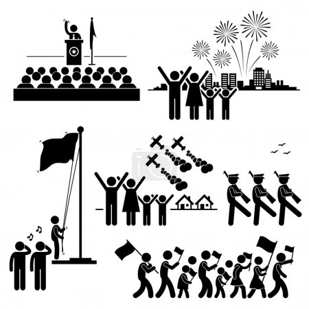 People Celebrating National Day Independence Patriotic Holiday Stick Figure Pictogram Icon