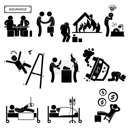 Insurance Agent Property Accident Robbery Medical Coverage Relieve Stick Figure Pictogram Icon