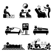 Alternate Therapies Medical Treatment Stick Figure Pictogram Icon