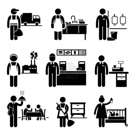 Illustration for A set of pictograms showing the professions of people in the low income industry. - Royalty Free Image