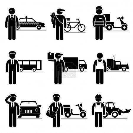 Illustration pour Un ensemble de pictogrammes montrant les professions des personnes dans l'industrie des services de conduite et de livraison . - image libre de droit