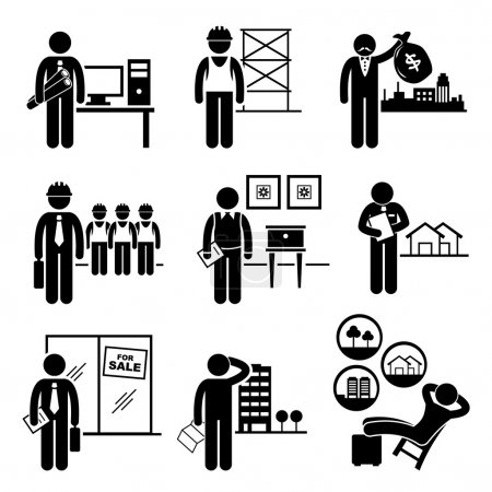 Photo for A set of pictograms showing the professions of people in the construction and real estates industry. - Royalty Free Image