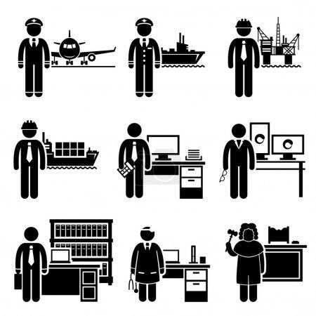 Photo pour Un ensemble de pictogrammes montrant les professions des personnes dans l'industrie à haut profil et à revenu élevé . - image libre de droit