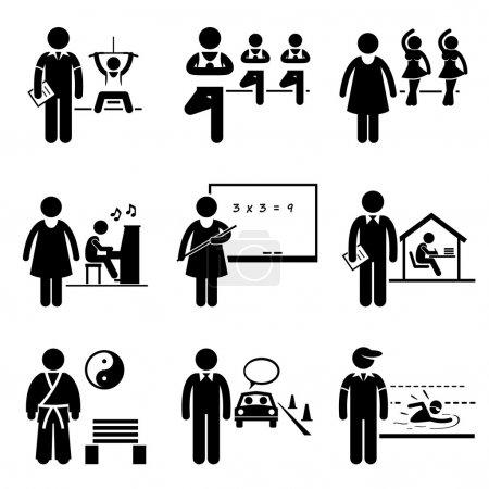 Coach Instructor Trainer Teacher Jobs Occupations Careers - Gym, Yoga, Dancing, Music, School Teacher, Home Tutor, Martial Arts, Driving, Swimming - Stick Figure Pictogram