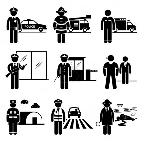 Public Safety and Security Jobs Occupations Careers - Police, Firefighter, EMT, Security Guard, Watchman, Bodyguard, Soldier, Traffic Officer, Detective - Stick Figure Pictogram