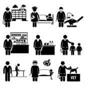 A set of human pictograms representing the jobs and professions of people in the industry of medial and healthcare They are doctor nurse dentist pharmacist nutritionist pediatric physiotherapist surgeon and veterinarian