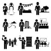 Igazgatási szolgáltatási feladatok foglalkozások karrier - esküvőszervező, esemény, undertaker, landscaper, a szállásadó, konferencia, idegenvezető, butler, értekezlet - stick ábra piktogram