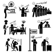 Angry and Unhappy Customers Complaining about Bad Services Stick Figure Pictogram Icon