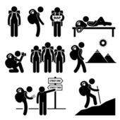Backpack Traveler Explorer Stick Figure Pictogram Icon