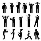 Körper dehnen Übung Strichmännchen Piktogramm Symbol