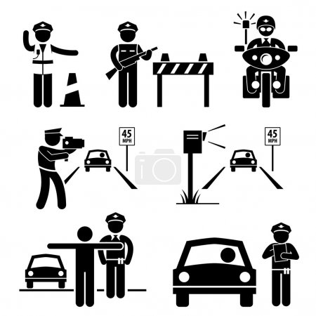 Illustration for A set of human pictogram representing traffic police officer on duty. - Royalty Free Image