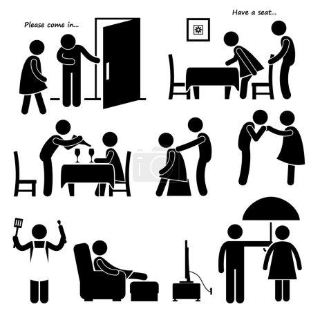 Gentleman Courteous Man Boyfriend Husband Stick Figure Pictogram Icon
