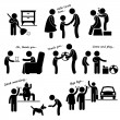 A set of human pictogram representing an obedient ...