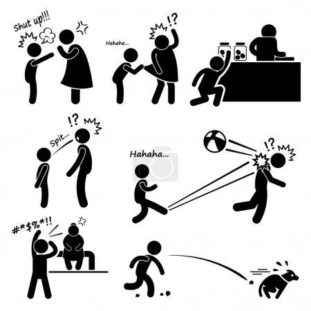 Méchant mauvais grossier rebelle petit enfant Kid garçon Stick Figure pictogramme icône