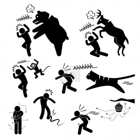Wild Animal Attacking Hurting Human Stick Figure Pictogram Icon