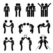 A set of human pictograms representing the way of businessman greets each others