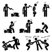 A set of human pictograms representing the concept of bullying competition betraying and struggle in business world