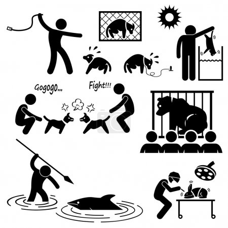 Animal Cruelty Abuse by Human Stick Figure Pictogram Icon