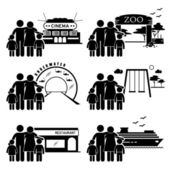 A set of human pictogram representing family outing and activities at various places (cinema zoo underwater theme park playground restaurant and a cruise ship vacation)