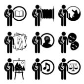 Student Degree in Arts and Humanities - Literature History Geography Fashion Design Philosophy Acting Painting Music Law - Stick Figure Pictogram Icon Clipart