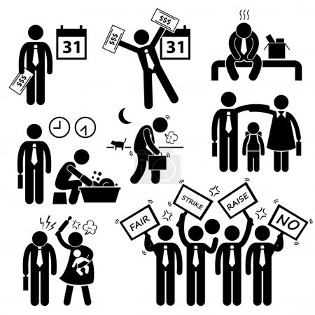 Worker Employee Income Salary Financial Problem Stick Figure Pictogram Icon Cliparts