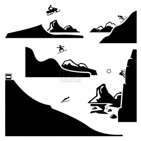 Extreme Sports - Snowmobiling, Skiing, Snowboarding, Ski Flying, Ice Climbing - Stick Figure Pictogram Icons Cliparts