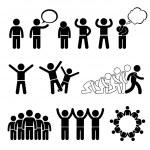 A set of human pictogram representing children pos...