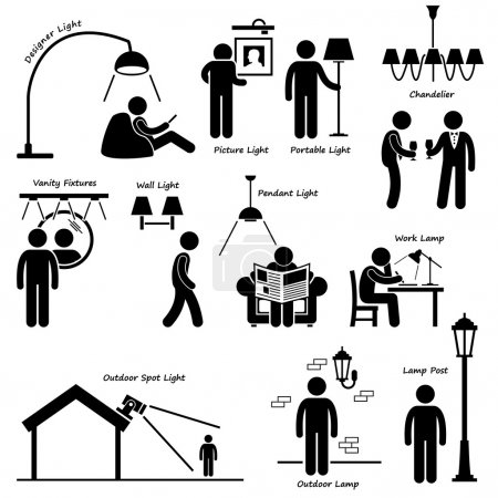 Home House Lighting Lamp Designs Stick Figure Pictogram Icon Cliparts