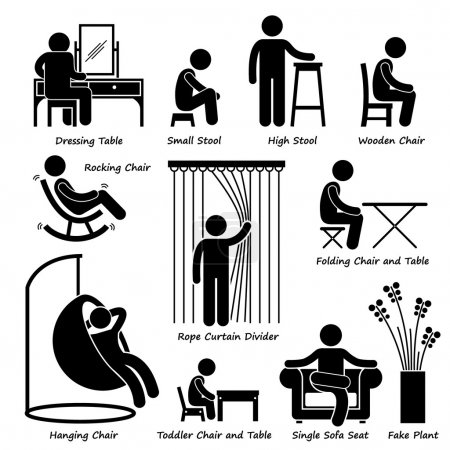Home House Furniture and Decorations Stick Figure Pictogram Icon Cliparts
