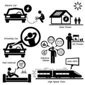 Advanced Technology of the Future Stick Figure Pictogram Icon Cliparts