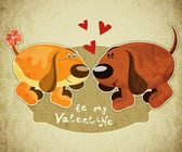 Valentines Day Card with cartoon dogs and hand lettering in Retro style - vector illustration