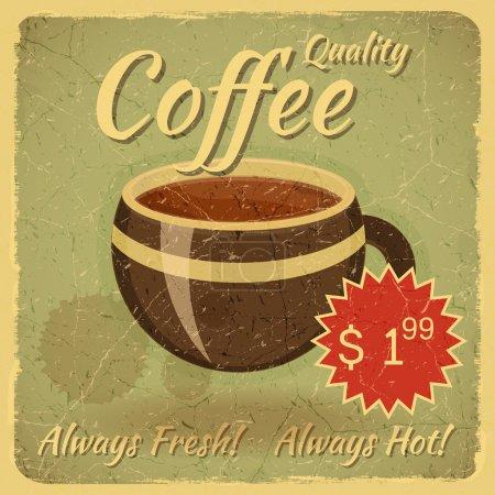 Ilustración de Tarjeta Grunge con taza de café, retro vintage cubierta para carta de cafés con lugar para el precio - ilustración vectorial - Imagen libre de derechos