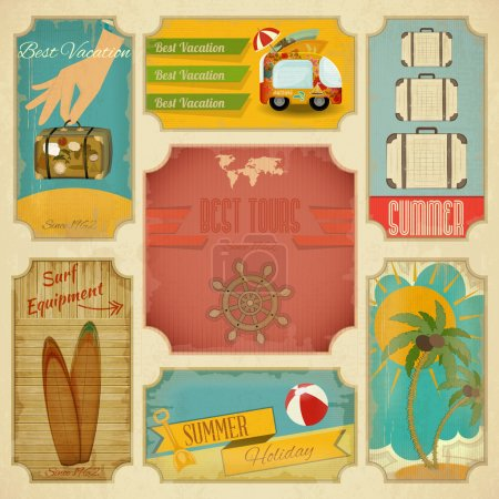 Photo pour Lot d'étiquettes de vacances été rétro style vintage. illustration vectorielle - image libre de droit