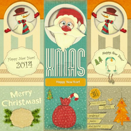 Illustration for Old Christmas and New Year Postcard with Santa Claus, Snowman and Christmas Decorations in Retro Style on a Vintage background. Vector illustration. - Royalty Free Image