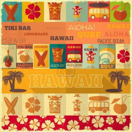 Illustration for Hawaii Surf Retro Card in Vintage Design Style. Vector Illustration. - Royalty Free Image