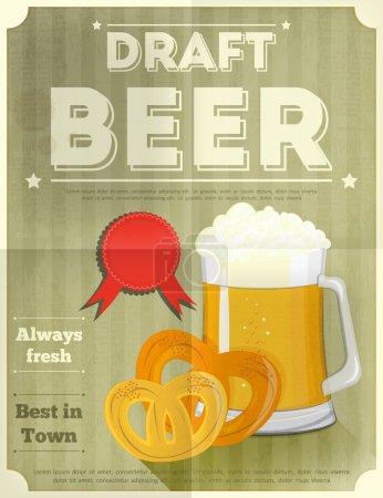 Illustration for Beer Retro Poster with Mug of Lager Beer and Pretzels. Vector Illustration. - Royalty Free Image