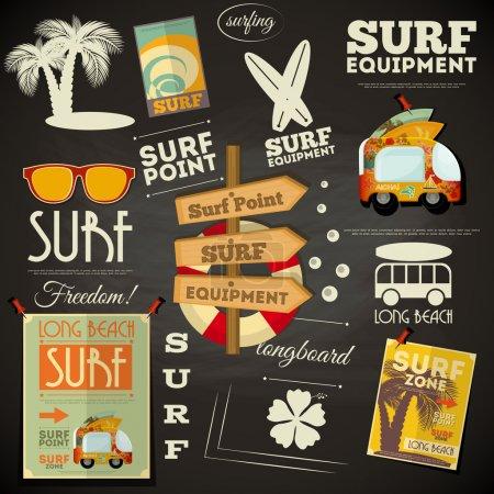 Illustration for Surf Retro Poster in Chalkboard Design Style. Vector Illustration. - Royalty Free Image