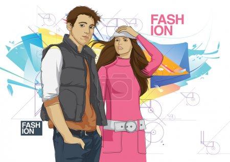 Illustration pour Modèle de mode vectoriel homme et femme - image libre de droit