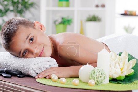boy in spa treatment