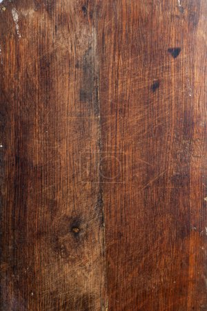 Photo for Surface of the old wooden planks oak kitchen board - Royalty Free Image
