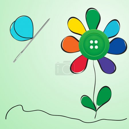 Button and needle provided in the form of a flower...