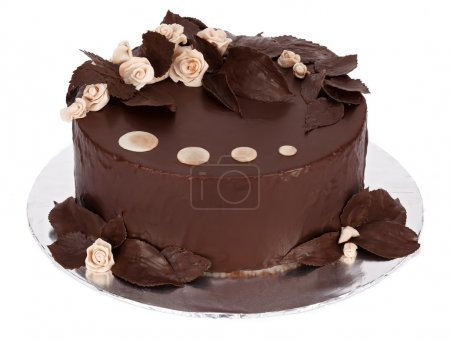 Photo pour Gâteau au chocolat avec massepain blanc et décorations de plantes réelles recouvertes de chocolat sur plaque ronde - image libre de droit