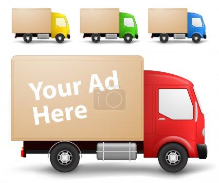 Illustration pour Vue latérale d'un petit camion cargo en différentes couleurs - image libre de droit